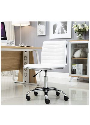 White Leather Square Back Swivel Office Chair desk chair vanity hair office chair conference chair makeup chair task chair vanity chair NEW IN BOX for Sale in La Habra, CA