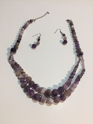 Authentic natural amethyst bead necklace and earring set for Sale in Fairfield, IA