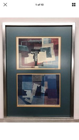 Vintage abstract Wilson York ying yang and blue music art framed for Sale in Los Angeles, CA