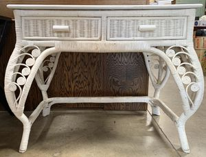 White Rattan Two Drawer Desk for Sale in Chula Vista, CA