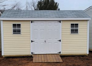New 8' x 16' Maize Yellow Vinyl A Frame Shed with Workbench for Sale in Lynnfield, MA