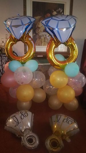 2 Bridal shower balloon Towers and 2 foil I do balloons for Sale in Garner, NC