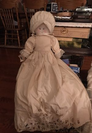 Adorable Country Doll in Cotton batten lace dress and bonnet for Sale in Gainesville, VA
