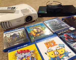 ✌️Home Theater Bundle Package😱projector/screen/3D DVD s for Sale in Winder, GA