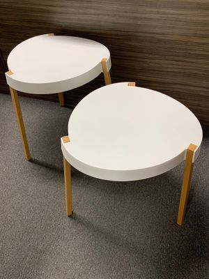 New in box $25 set of 2 heavy duty indoor outdoor abs plastic top and solid wooden leg indoor outdoor side coffee table black or white color for Sale in San Dimas, CA