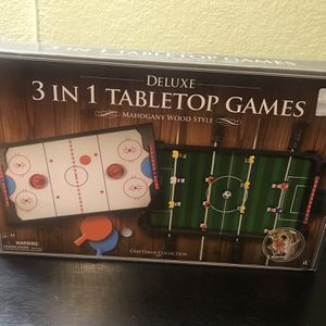 3 In 1 Tabletop Games - Hockey, Foosball, Ping Pong for Sale in Rowland Heights, CA