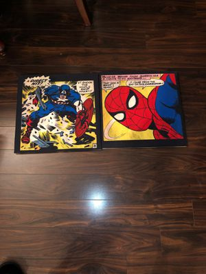 Pottery Barn kids 2012 Marvel spider man and captain America wall arts set of 2 for Sale in Hillsboro, OR