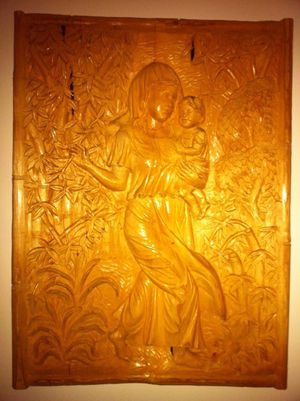 Madonna and child woos sculpture made of bass wood 42inch tall for Sale in Alexandria, VA
