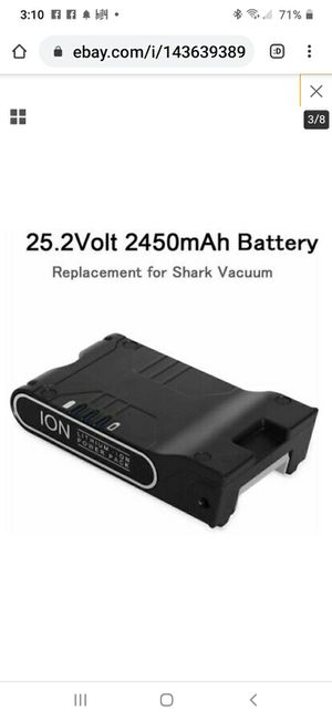 Shark vacuum replacement battery 25.2 volt lithium-ion 2.45 a h for Sale in Columbus, OH
