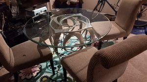"Round 48"" Glass Table/Metal frame/4 Chairs for Sale in Fairfax, VA"