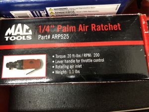 Mac Tools 1/4 Stubby Palm Air Ratchet for Sale in Oregon City, OR