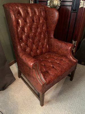 Antique furniture tufted chair marble table brass oak frame books for Sale in Tampa, FL