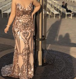 Rose Gold Sequin Maxi Prom Dress for Sale in Spring Valley,  CA