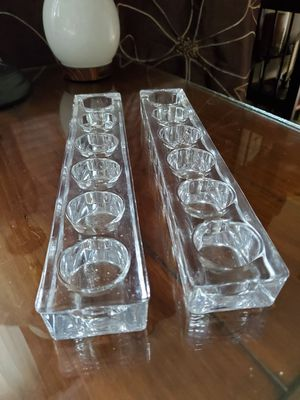 Two Beautiful Crystal Clear Tealight Holders 13x3 both for 15.00 for Sale in Virginia Beach, VA