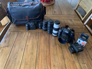 Canon 5d mark II, Mark I, 6 lenses, waxed canvas bag for Sale in Los Angeles, CA
