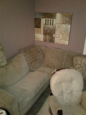 Sectional sofa and glider rocker w/stool for Sale in Fort Wayne, IN