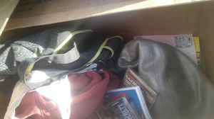 Free Box full of items. Exercise ball, country CDs, bag, New infant shoes and more take whole box for Sale in BETHEL, WA