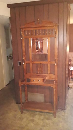 Antique 7 ft hard wood hat rack with 4 hooks with mirror and drawer for Sale in Anaheim, CA
