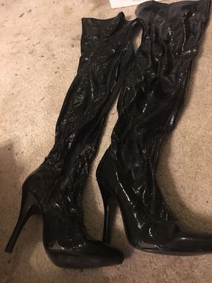 Sexy Vinyl Stiletto thigh high boots size 9 great for Halloween costumes! for Sale in Land O' Lakes, FL