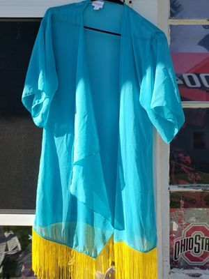 Turquoise sheer womans cover up, size S-M for Sale in Columbus, OH