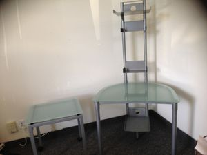 Contemporary Computer Desk and rolling Glass Top File Holder for Sale in Carlsbad, CA