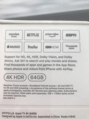 Apple TV 4K 64gb brand new in box for Sale in Elk Grove, CA