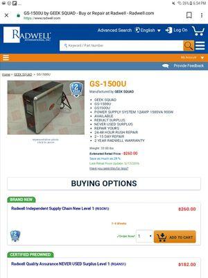 Geek Squad 1500 for Sale in Longview, TX