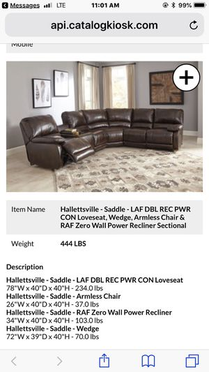 Ashley Power Reclining Sectional for Sale in Tampa, FL