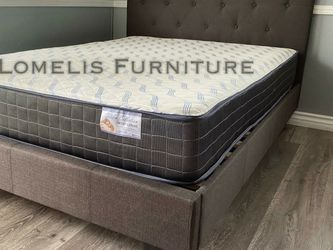 Queen Dark Gray Tufted Bed W. Orthopedic Mattress Included for Sale in Anaheim,  CA