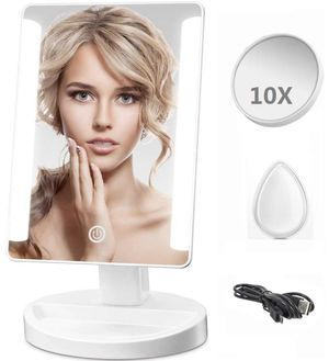 LED Lighted Makeup Mirror - Leadpo Dimmable Vanity Mirror with Detachable 10X Magnification Spot Mirror, Smart Touch Screen Travel Cosmetic Mirror wi for Sale in South Brunswick Township, NJ