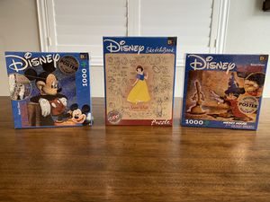 Disney Buffalo Games Lot Of 3 Puzzles MIB Mickey Mouse & Snow White for Sale in Clovis, CA