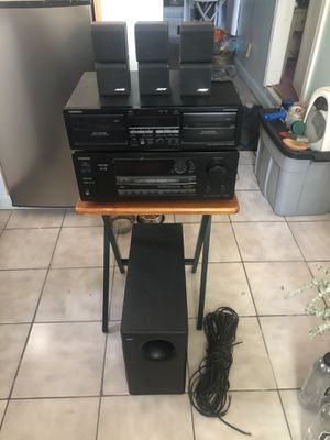 Onkyo Video Control Receiver, Onkyo Stereo Dual Cassette Deck & Bose Acoustimass 7 Home Theater Speakers for Sale in Stoughton, MA