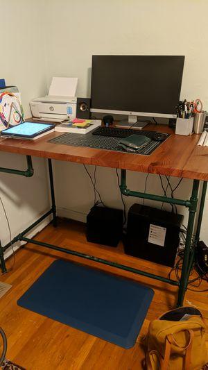 Redwood and iron pipe standing desk for Sale in Santa Cruz, CA