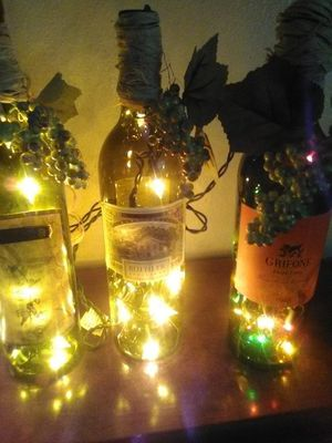*A set of 4 Wine bottle decorations light up the room for Sale in Chiriaco Summit, CA