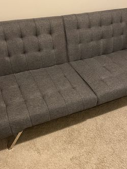 Grey Linen Futon Folds Flat Into Bed for Sale in Alexandria,  VA