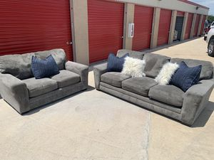 Can deliver - grey couch sofa loveseat 2pcs for Sale in Burleson, TX