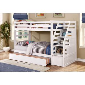 Modern Twin Over Twin Bunk Bed with Trundle and Drawers for Sale in Fort Lauderdale, FL