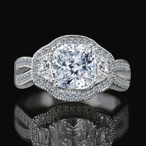 2.5 CT. Cushion Radiant Vintage micro pave halo split shank engagement/wedding three stone Sterling Silver ring Simulated Diamond for Sale in New York, NY