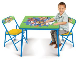 Paw Patrol Kids Erasable Activity Table Includes 2 Chairs with Safety Lock, Non Skid Rubber Feet & Padded Seats (Green/Yellow) for Sale in Houston, TX