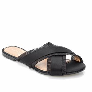 Brand New in Box Andre Assous Gorgeous Black Satin Crisscross Slide Sandals Size 7 for Sale in West Palm Beach, FL