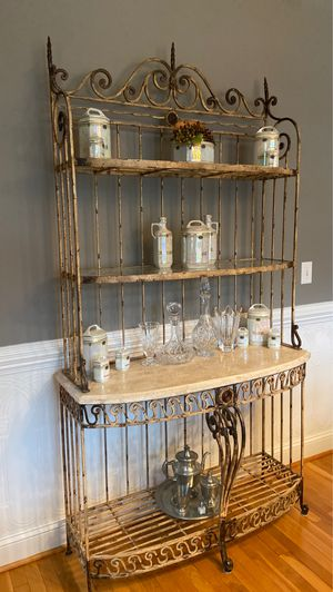 Bakers rack with marble shelves for Sale in Graham, NC