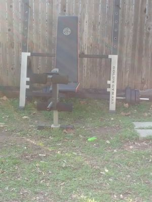 Gold's gym weights n other attachments for the bench for Sale in Dallas, TX