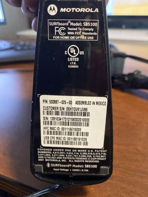 Motorola Surfboard SB5100 DOCSIS Cable Modem for Sale in Katy, TX