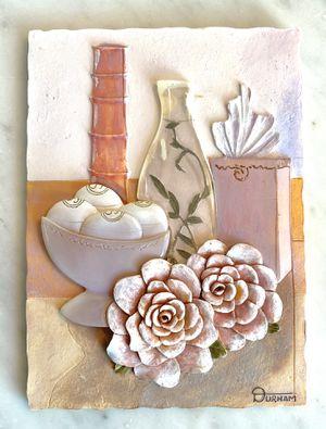 Lovely Durham 3D Wall Art Placque Ceramic Resin Flowers Vase Pastels Signed for Sale in Port St. Lucie, FL