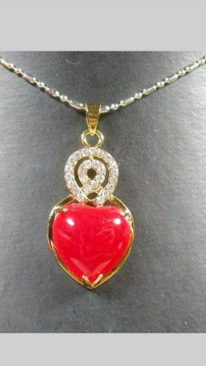 "Shipping Lucky Yellow Gold Plated Red Jade Love Heart Imitation Diamond Pendant Chain Necklace 18"" for Sale in Richmond, CA"
