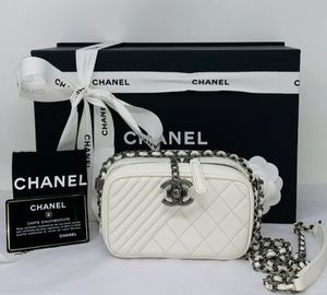 CHANEL Lambskin Quilted Bag Mini Coco Boy Camera Case White Crossbody Shoulder❤️ for Sale in Corona, CA