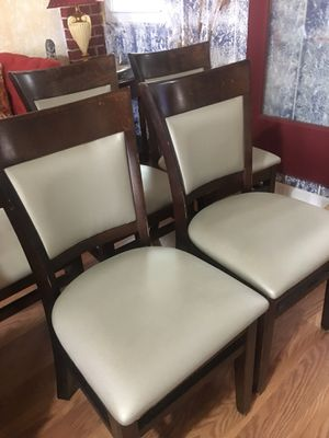 6 chairs selver leather color$185 for Sale in Tucker, GA