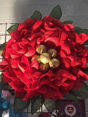 Burlap Poinsettia Wreath for Sale in Inwood, WV