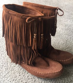 Fun New Fringe Suede Boots for Sale in Belvidere, IL