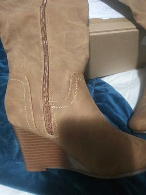 REDUCED TO $39: Size 6 Calf high wedge boots